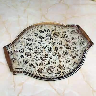 Vintage Mid-Century Georges Briard Persian Garden Gilt Glass Tray Signed