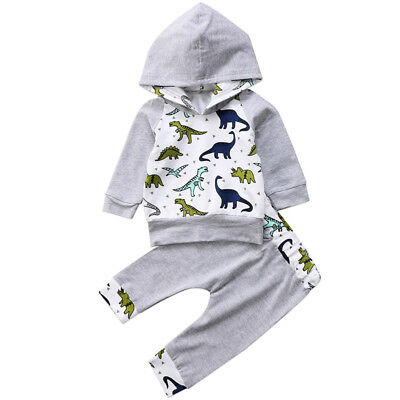 AU Newborn Baby Kid Boy Hooded Dinosaur Tops Shirt+Pant Outfit Tracksuit Clothes