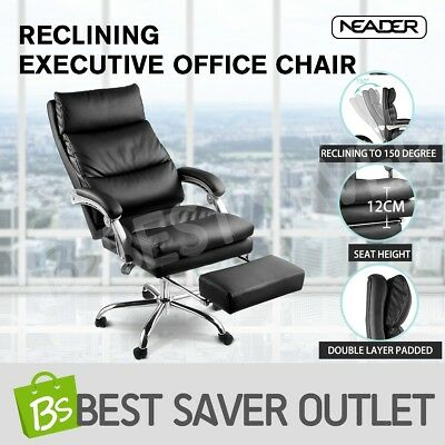 PU Leather Executive Office Chair Ergonomic Recliner Computer Seat w/Footrest BK