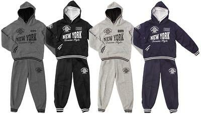 Boys Tracksuit New York Outfit Sport College Hoody Jogsuit Jog Set 3 to 14 Years