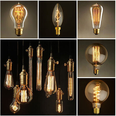 Retro Edison E27 40W Filament Light Bulb ST64 Globe Lamp Vintage Bright CHW