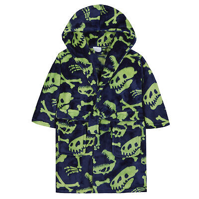 Boys Dino Dinosaur Bones Dressing Gown Robe Plush Fleece Toddler Winter Hooded