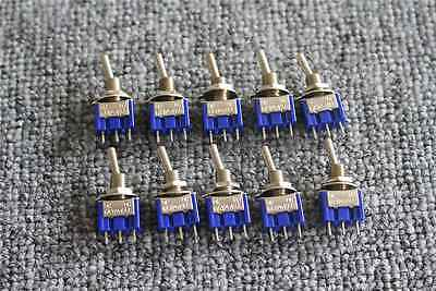 US Stock 10pcs Mini MTS-102 3-Pin SPDT ON-ON 6A 125VAC Toggle Switches