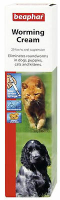 Beaphar Cat Kitten Dog Puppy Worming Cream Eliminates Roundworms 18g Easy To Use