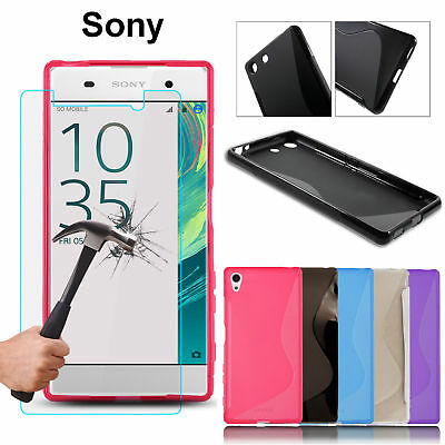 Clear S-Line Wave Tpu Gel Case Cover & Free Stylus Pen For Sony Xperia Phones