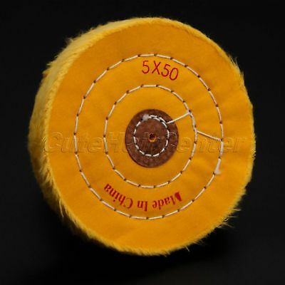 "5"" Yellow Multi-layers Cotton Cloth Polishing Wheel Buffing Craft Jewelry Wood"