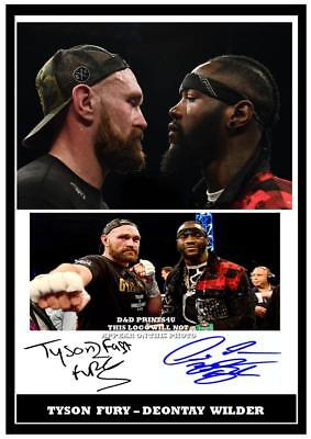 153. Tyson Fury & Deontay Wilder Boxing Signed Reproduction Print Size A4