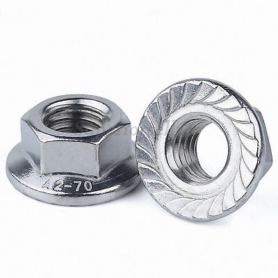 SUS201 Stainless Serrated Flange Lock Nuts to Fit Bolt & Screw M3,4,5,6,8,10,12