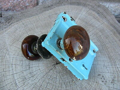 Antique Door Knob Set Rim Lock Assembly Brown Swirl Working RE & Co Late 1800s