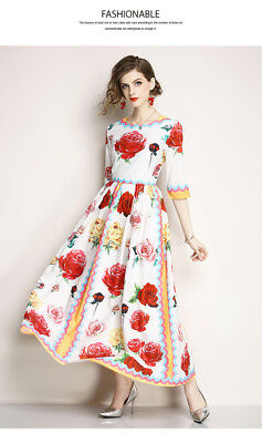 Vintage retro maxi kleid bohemien blumen bohemian party dress party floral swing