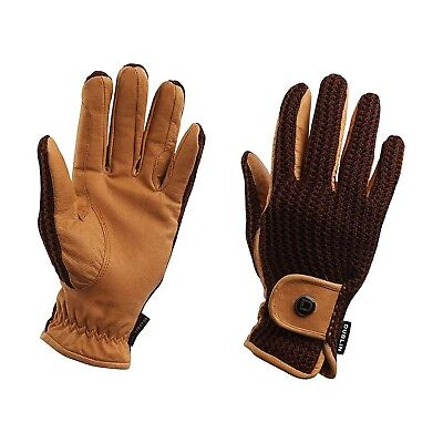 (Small, Brown) - Dublin Crochet Everyday Riding Glove. Best Price