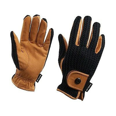 (Small, Black) - Dublin Crochet Everyday Riding Glove. Delivery is Free