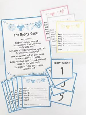 NEW Baby Shower Games - The Dirty Nappy Game *4 colours