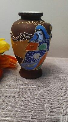Vintage Japanese Moriage Satsuma Vase - Immortal Female with Gold Headed Dragon