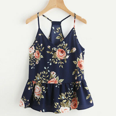 Women's Camisole Explosion Floral Printing Sling Sleeveless Sexy Halter Tops