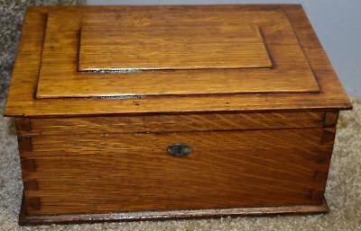 1920s Antique American Made Tiger Oak wood Jewelry Box