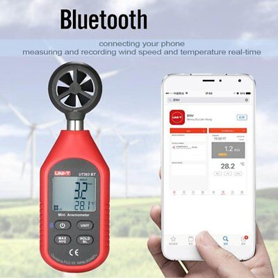 UT363BT Wind Speed Meter Digital Bluetooth Portable Anemometer Thermometer CE