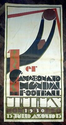 Original 1930 First World Cup Soccer Poster Color Uruguay (advertising)