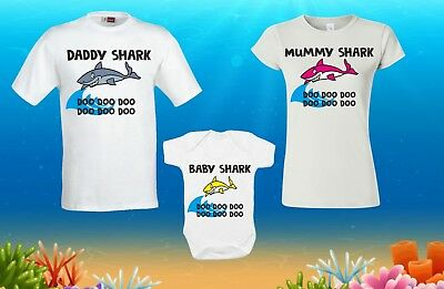 Baby Shark Doo Doo T-Shirt Mummy Daddy Family BabyGrow Romper Suit Funny Gift