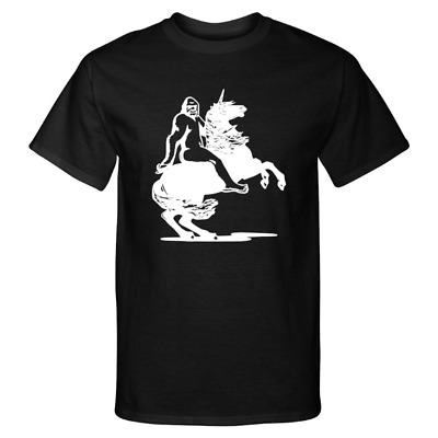 Cryptid Games. Bigfoot riding a unicorn chasing an A Die Cut Vinyl Window Funny