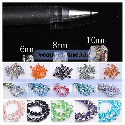 Faceted Diagonal Hole Cube Square Crystal Glass Charms Loose Beads 6mm/8mm/10mm