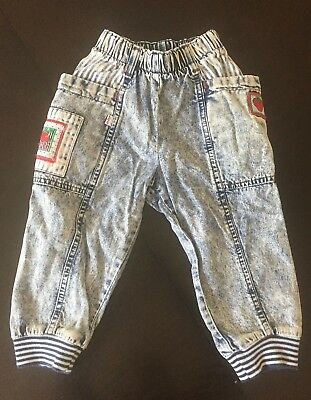 Vintage 80s Little Levi's Acid Wash Denim Jeans Toddler 3T Kids Girls USA