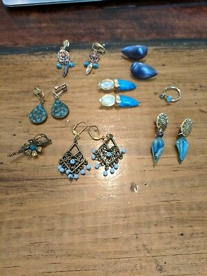 Lot of Blue Vintage Costume Jewelry some shark tooth style, as is, earrings, pin