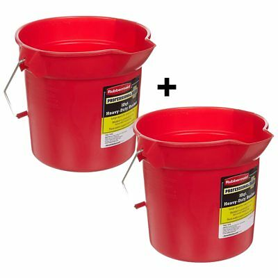 2-Pack Rubbermaid Commercial Brute 10 quart Heavy Duty Bucket Pail Plastic Red W