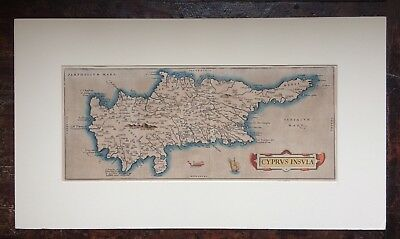 Original Antique Abraham Ortelius Map Of Cyprus 1584, Theatrum Orbis