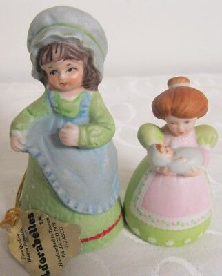 2 Pc Vintage Jasco & Avon Bells Bisque Adorabelles Woman & Baby 1988 & 1978