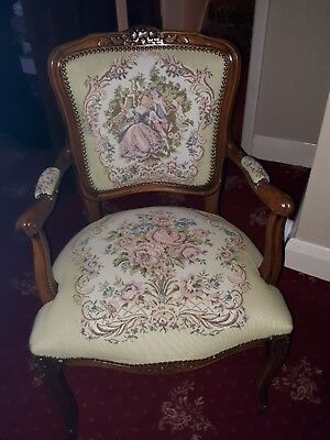 Antique Louis XV Style Carved Walnut Arm Tapestry  Chair