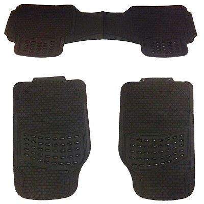 3 Piece Heavy Duty Front & Rear Waterproof Black Rubber Merc Car Floor Mats Set