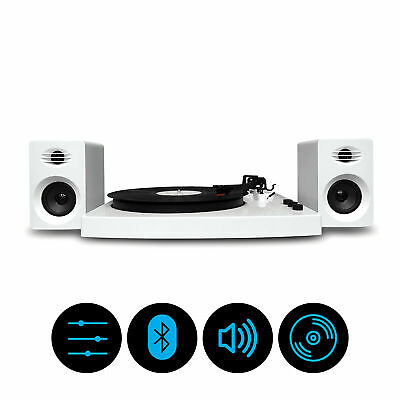 mbeat Pro-M Stereo Turntable Player with Bluetooth & Speakers - White