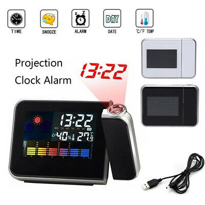 LED Digital LED Projector Projection Weather Station Calendar Snooze Alarm Clock