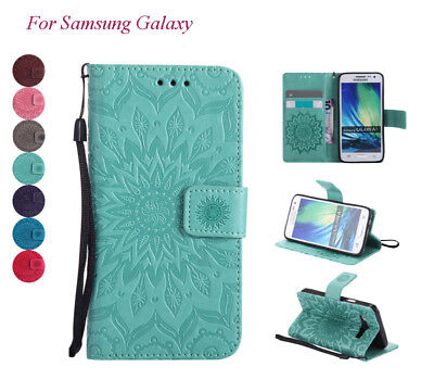 For Samsung A3 A5 2015 A510 2016 PU Leather Embossed Flip Stand Pouch Cover Case