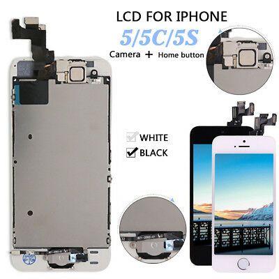 For Apple iPhone 5 5C 5S Touch Screen LCD Digitizer Replacement & Button+ Camera