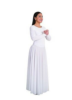 Body Wrappers 512 White Adult Size Large (12-14) Long Sleeve Praise Dance Dress