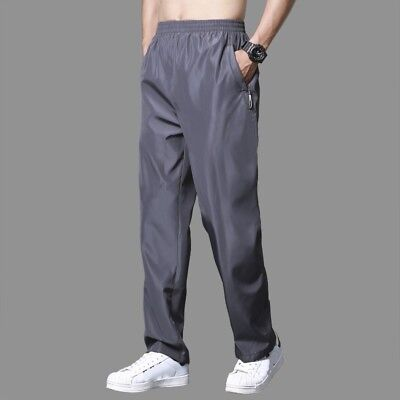 Men Sports Jogger Pants Trousers Quick Dry Casual Drawstring Sweatpants Solid