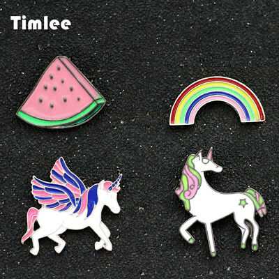 Timlee X154 Lovely Delicate Unicorn Pegasus Rainbow watermelon Brooch Pins