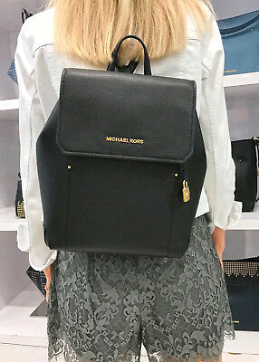 Michael Kors Hayes Backpack Medium Leather Bag Black