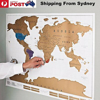 52x88cm Scratch Off Map World Deluxe Large Personalized Travel Poster Travel Atl