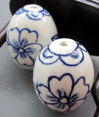 2Pcs Hand Painted Flower Porcelain Beads Finding For Jewelry Making
