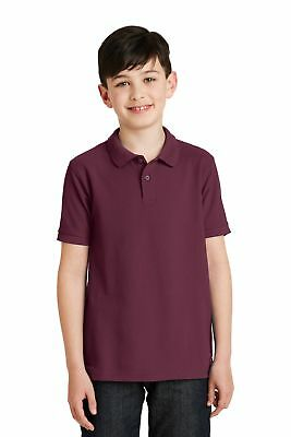 Port Authority  Youth Silk Touch Polo. Y500 Burgundy L
