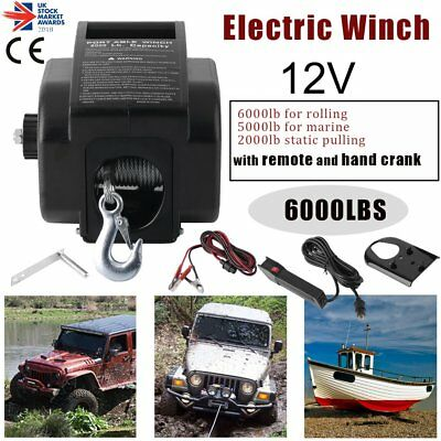 6000LBS Heavy Duty Electric Recovery Winch 12V Remote Control Rope Trailer Truck