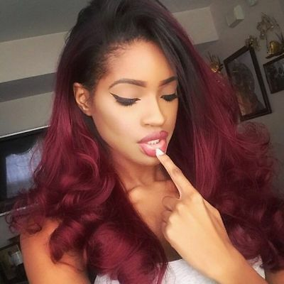Handmade Synthetic Lace Front Wigs Ombre Black to Wine Red Wig Heat Hair WIG