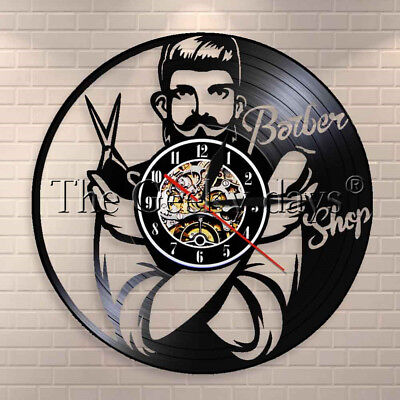 Barber Shop Wall Decor Hairdresser Vinyl Record Clock Comb Scissor Razor Sign