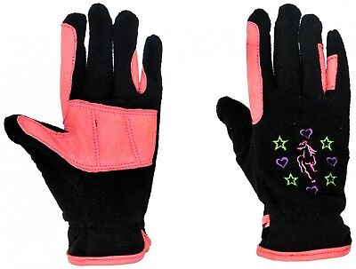 (Small, Black / Pink) - Riders Trend Girl's Riding Fleece Gloves