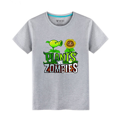 Plants vs. Zombies Symbol Children Summer Short Sleeve T-shirt Tees Costume Cool