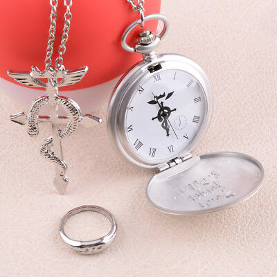 Anime Fullmetal Metal Alchemist Cosplay Pocket Watch + Necklace + Ring Set