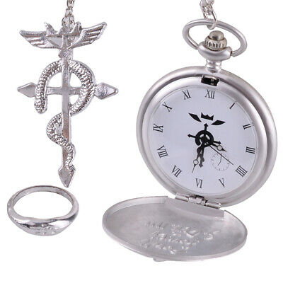 3pcs Anime Fullmetal Alchemist Cosplay Pocket Watch + Necklace + Ring Set